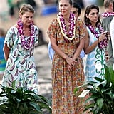 Maggie Gyllenhaal wore Hawaiian garb at her dad Stephen Gyllenhaal's wedding in July 2011.