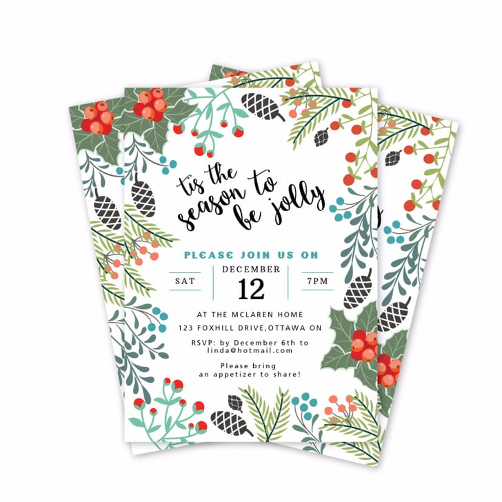 image about Printable Holiday Invites named Printable Trip Social gathering Invites POPSUGAR Sensible Residing
