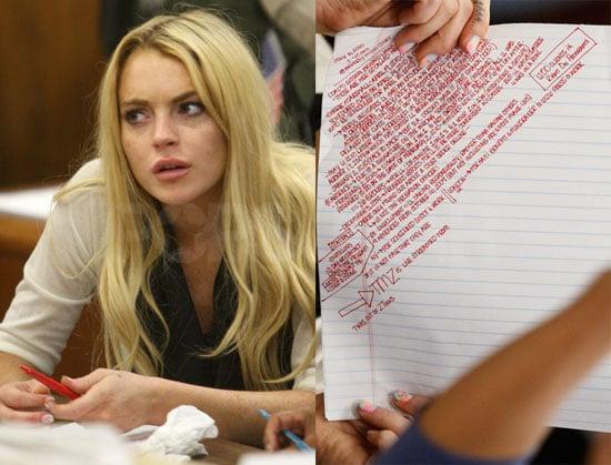 Lindsay Lohan's Court Notes Transcribed 2010-07-07 16:30:15