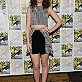 At The Mortal Instruments: City of Bones press conference, Lily Collins donned a black and white look by Paper London, then completed it with black Brian Atwood pumps.