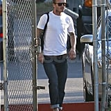 David Beckham looked hot in a white tee.