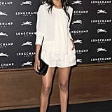Zoe Saldana was darling in white at the grand opening of the Longchamp store in London.