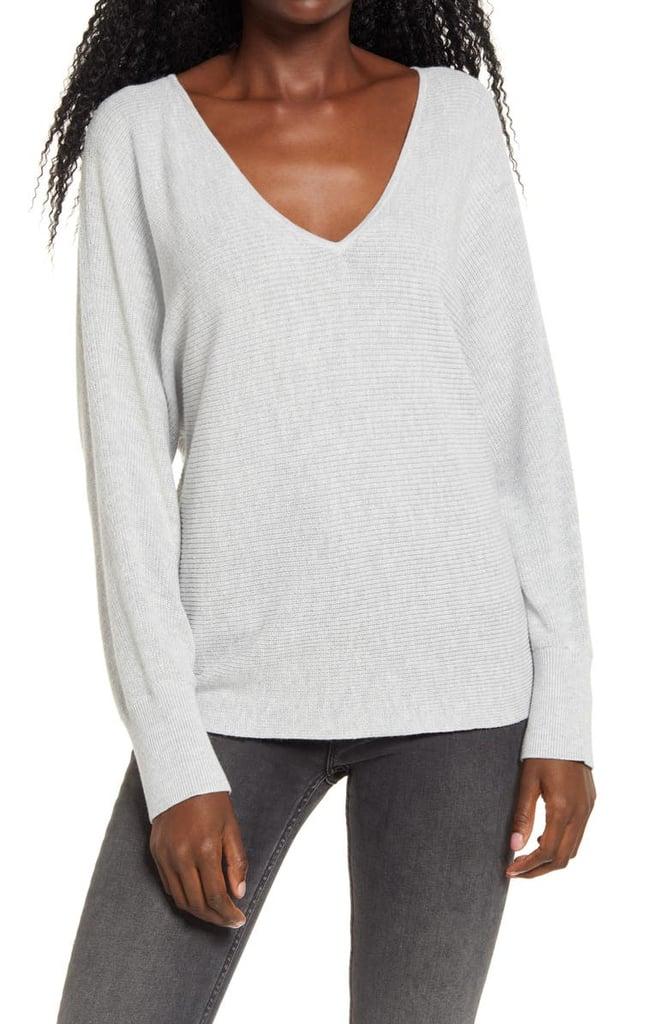 Leith Dolman Sleeve V-Neck Sweater