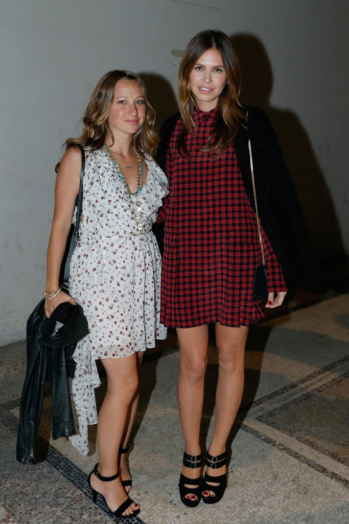 Jennifer Meyer and Dasha Zhukova mixed prints in the front row at Saint Laurent.