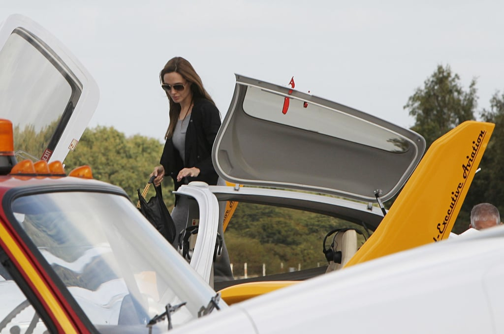 Angelina Jolie at flying lessons.