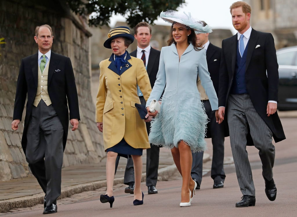 Prince Edward, Princess Anne, Lady Frederick Windsor, and Prince Harry at a wedding in May 2019