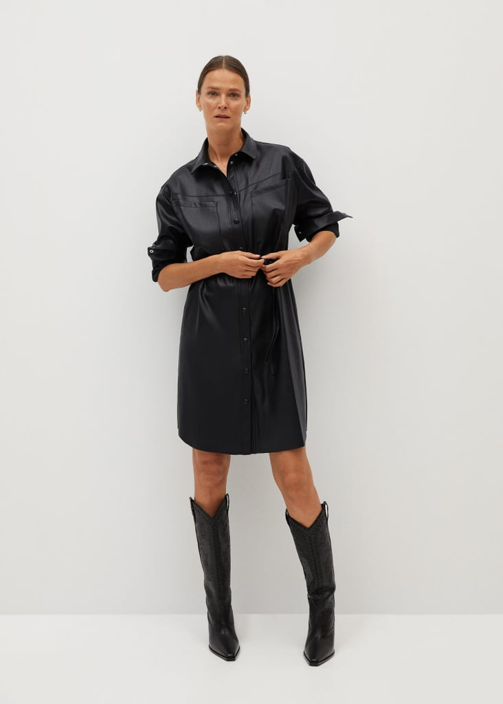 Faux-Leather Shirt Dress