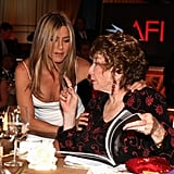 Jennifer Aniston spoke with Shirley MacLaine and Meryl Streep during an AFI gala in Shirley's honor.