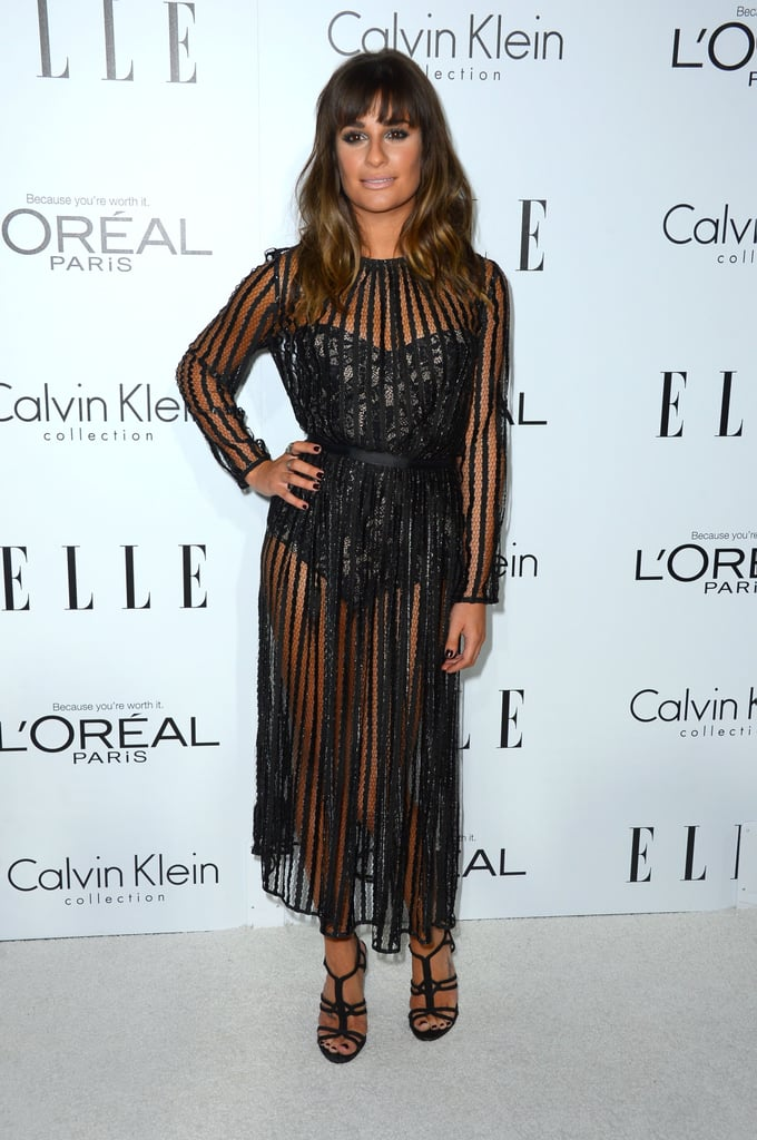 Lea Michele had the night's most revealing look in a sultry Zimmermann ensemble, which included a sheer, striped dress over a lacy bodysuit.