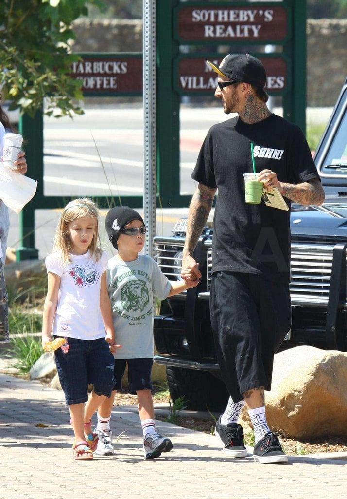 Travis Barker and His Entourage Hit Starbucks