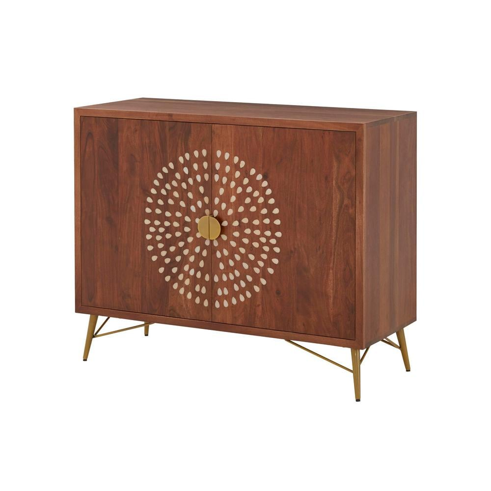 Home Decorators Collection Natural Finish Wood Accent Cabinet with Inlay Design