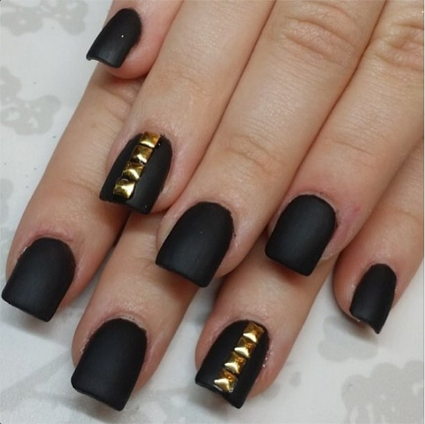 Matte Black Studs | 50+ Nail Art Ideas to Inspire Your Spring Style ...