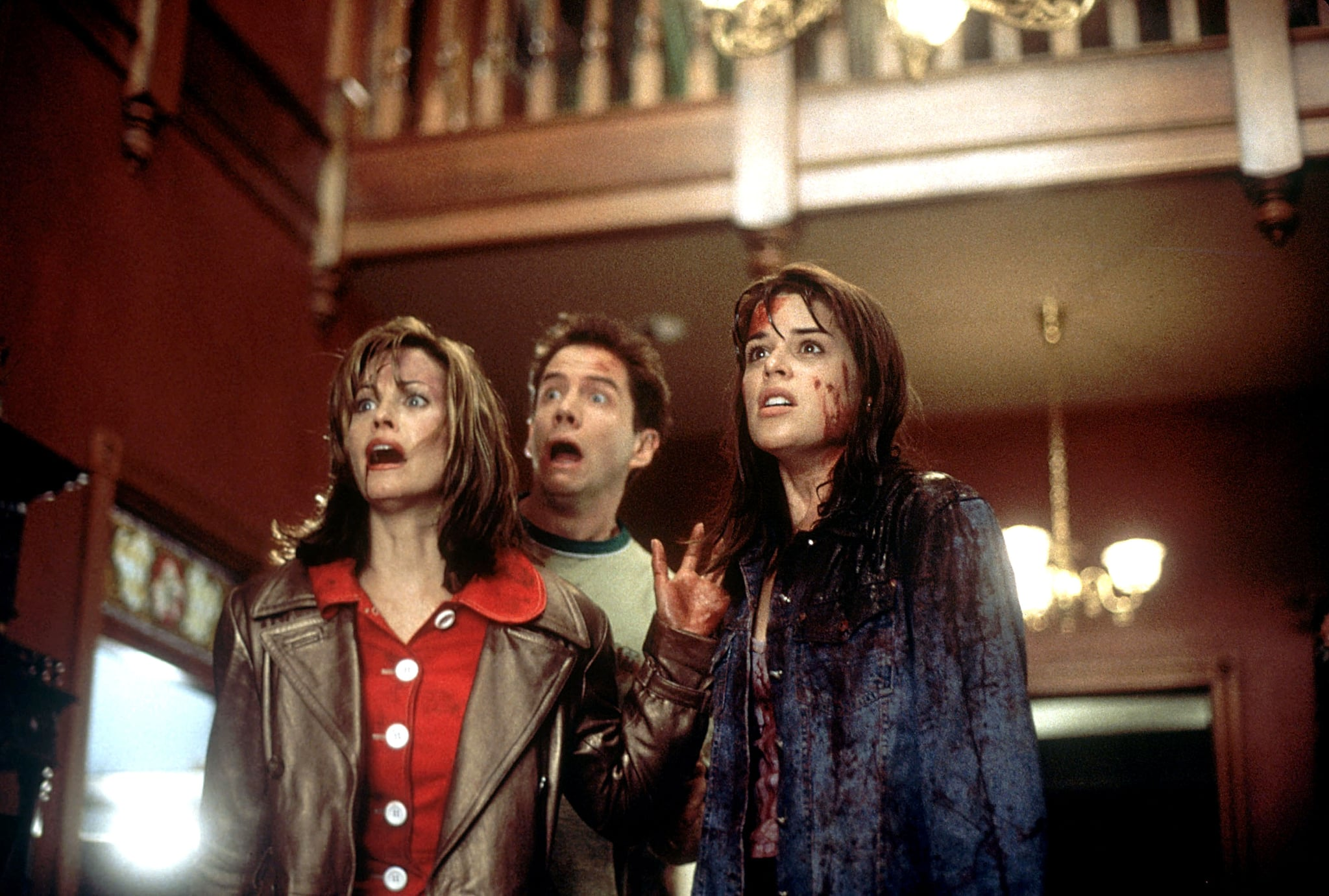 SCREAM, Courteney Cox, Jamie Kennedy, Neve Campbell, 1996, (c) Dimension/courtesy Everett Collection