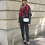 Style a Plaid Scarf With High-Waisted Jeans