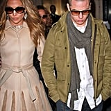 Jennifer Lopez and Casper Smart left their hotel to go to NYC's the Late Show.