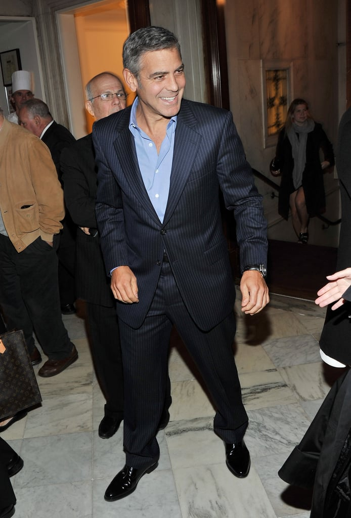 George Clooney was social at a party for The Ides of March.