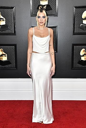 Dua Lipa's White Alexander Wang Slip Skirt at the Grammys