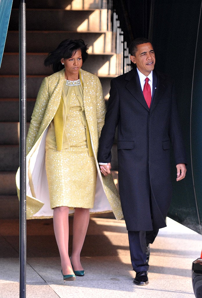 For President Obama's swearing-in ceremony in January 2009, Michelle delighted in a custom, lemon-hued Isabel Toledo coat and dress. She paired the sunny outfit with olive-green leather gloves and her favorite green Jimmy Choo shoes.