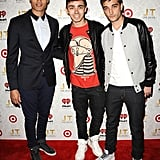 Siva Kaneswaran, Nathan Sykes, and Tom Parker from The Wanted dropped by the event.