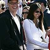 Matt Damon and Luciana caught a Fenway Park game in June 2005.