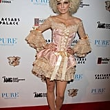 AnnaLynne McCord dressed as Marie Antoinette while hosting a 2011 Halloween party in Las Vegas.