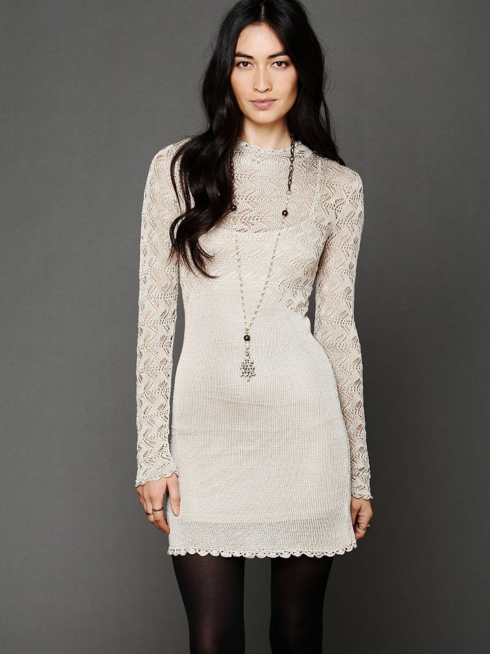 While it may seem a little lighter on the knit side, this Free People galaxy sweater dress ($168) is still a prime choice for festive occasions. Why? Just look to its Victorian-inspired weave (how perfect will a statement necklace look against this fabric?), scalloped edges, and higher neckline for extra proof.