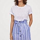 H&M Linen-Blend Paper-Bag Skirt