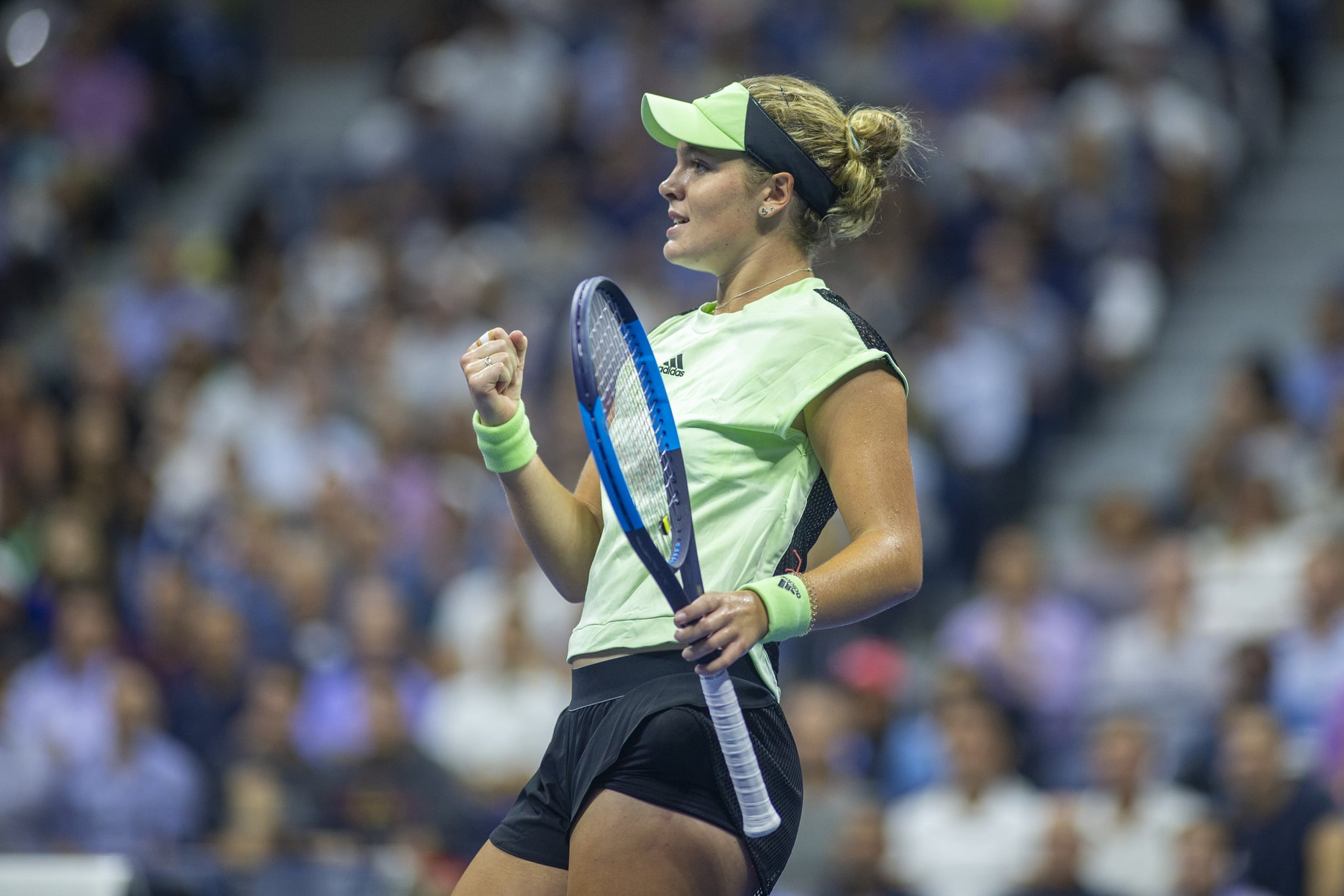 2019 US Open Tennis Tournament- Day Three.  Catherine McNally of the United States reacts after winning the first set against Serena Williams of the United States in the Women's Singles Round Two match on Arthur Ashe Stadium at the 2019 US Open Tennis Tournament at the USTA Billie Jean King National Tennis Centre on August 27th, 2019 in Flushing, Queens, New York City.  (Photo by Tim Clayton/Corbis via Getty Images)