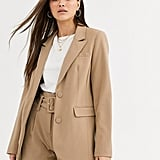 Warehouse Crepe Blazer in Camel