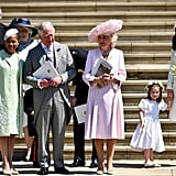On Meghan's wedding day, Doria stood outside the chapel with her new relatives Prince Charles, Camilla Parker Bowles, Kate Middleton, and Princess Charlotte.