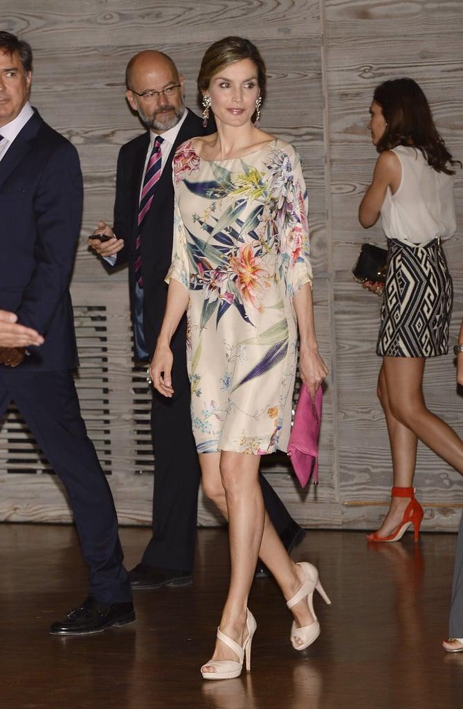 Queen Letizia's Floral Three-Quarter Sleeve Dress July 2016