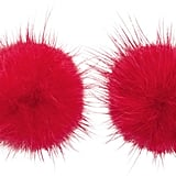 Wild and Woolly Red Mink Puff Ball Earrings