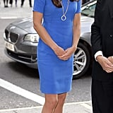 On July 19, the Duchess wore a Stella McCartney dress for an Olympic exhibition at the National Portrait Gallery.
