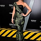 Talk about reptilian chic — Kate Beckinsale stunned in a one-shouldered creation from Armani Privé's Spring 2012 collection. We love how the lime-green print literally snaked around her body.