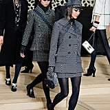 The Usual Tweed Skirt Suits Were Paired Up With Black Tights