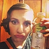 Lena Dunham finished her night out with a bottle of kombucha. Source: Instagram user lenadunham