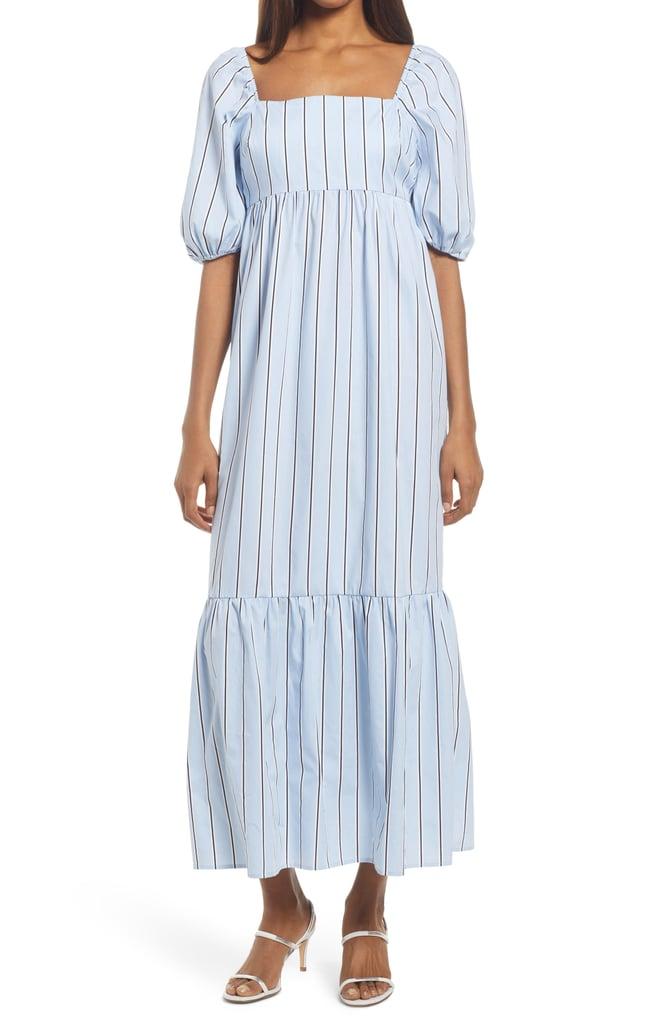 Fourteenth Place Stripe Puff Sleeve Midi Dress