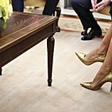 A Close-Up Look at Her Pointed-Toe Stilettos