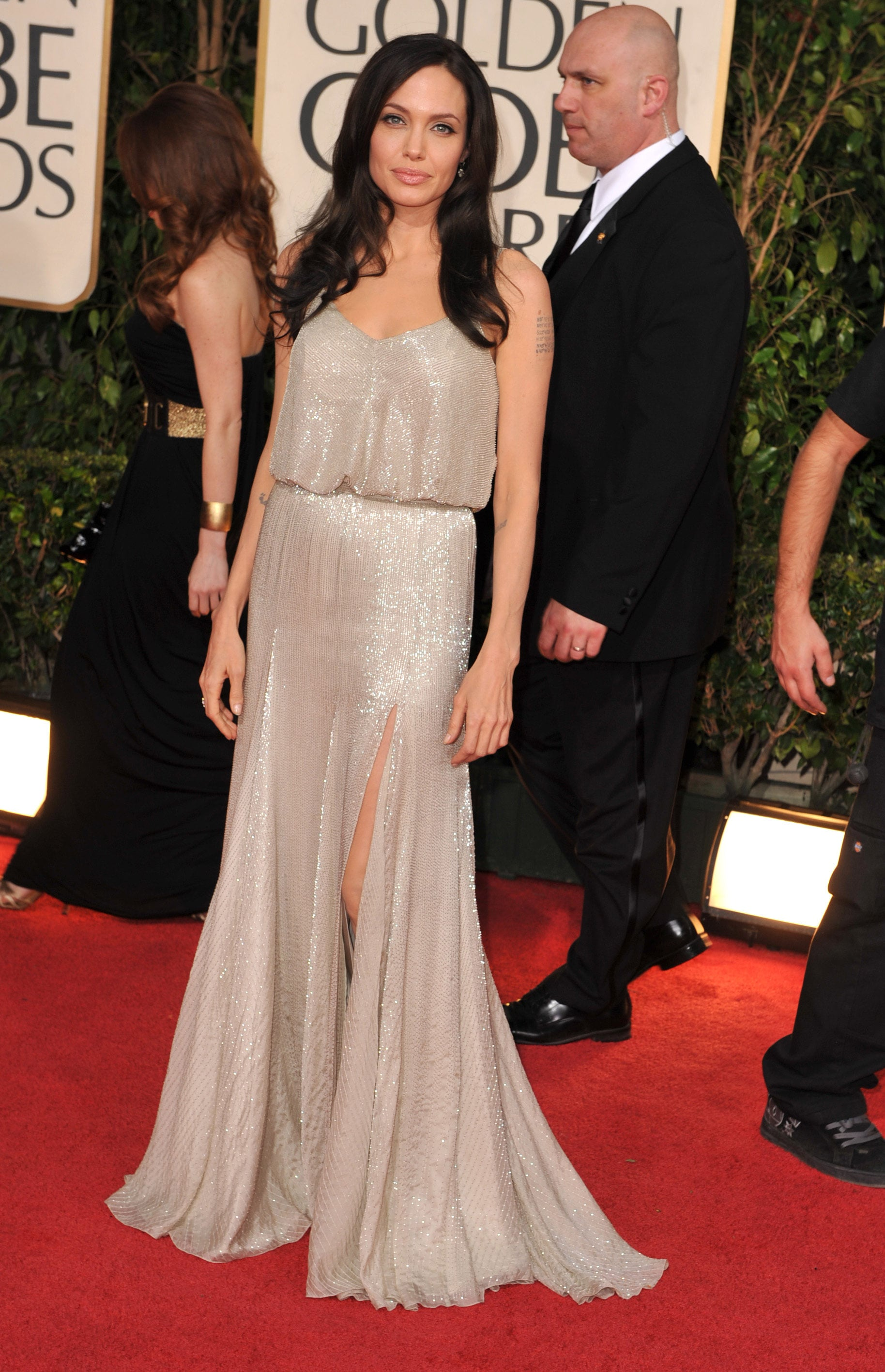 Angelina Jolie At The 2009 Golden Globe Awards Angelina Jolie S Wedding Dress Isn T Even Her Best Versace Look Popsugar Fashion Uk Photo 7