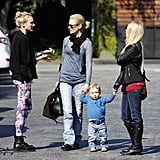 January Jones was joined by Diane Kruger for lunch with her son, Xander, in LA.