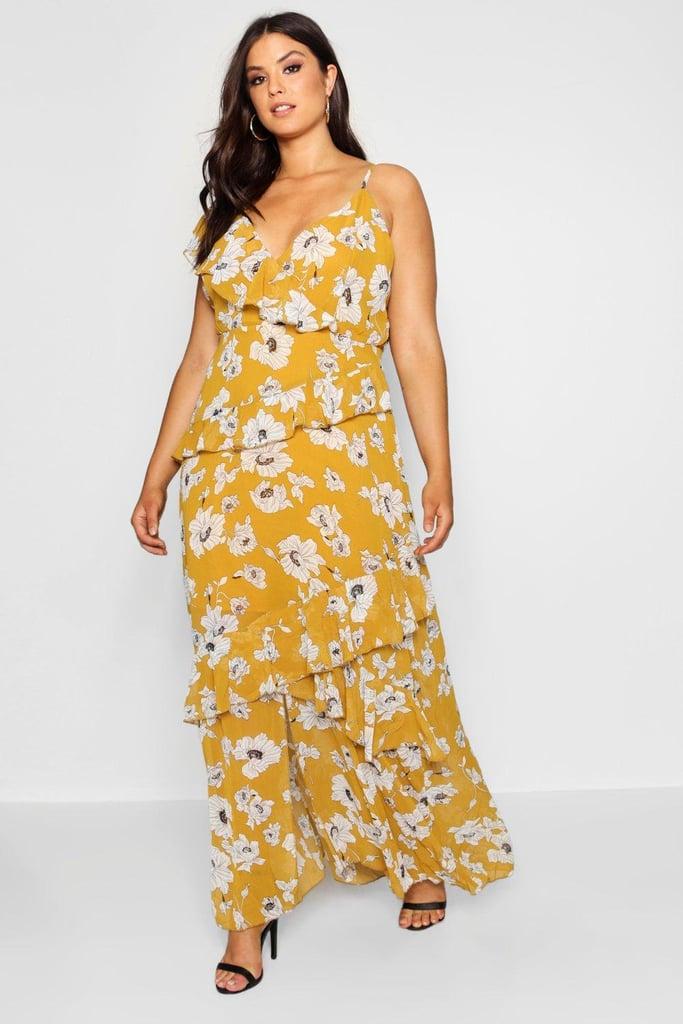 789dc4cbf5d0 Boohoo Plus Kate Floral Ruffle Detail Maxi Dress