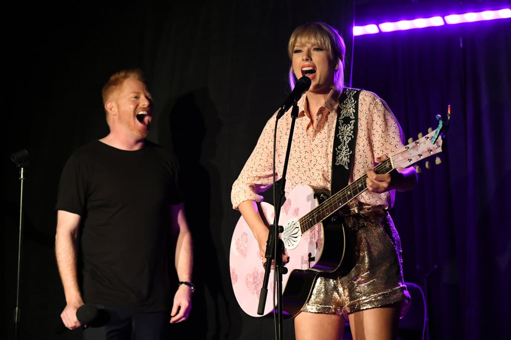 "Taylor Swift and Jesse Tyler Ferguson ""Shake It Off"" at Stonewall Inn's 50th Pride Celebration"