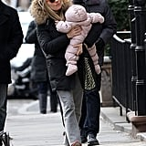 Sienna Miller held onto baby Marlowe in NYC.