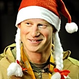 Prince Harry wore a Santa hat around the base in December.