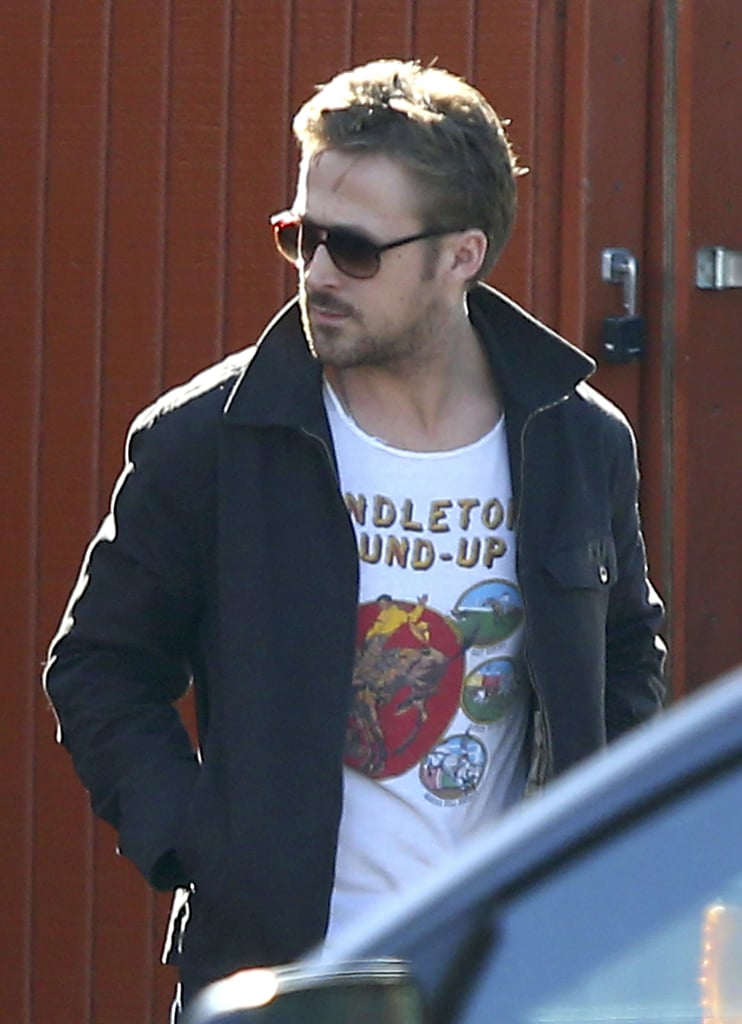 Ryan Gosling wore his shades leaving lunch with a friend at Timmy Nolan's restaurant in the Toluca Lake neighborhood of LA yesterday. It was his latest lunch date after he also dined out in Los Feliz on Sunday. Ryan has been out and about recently following promotions for Gangster Squad over the past month. Although his latest movie garnered a lukewarm response at the box office, he is already on to his next project. Ryan's new Place Beyond the Pines poster was unveiled earlier this week and features his costars Bradley Cooper and real-life love interest Eva Mendes. He and Eva should be coupling up on the press circuit soon, since the movie opens in limited release on March 29.