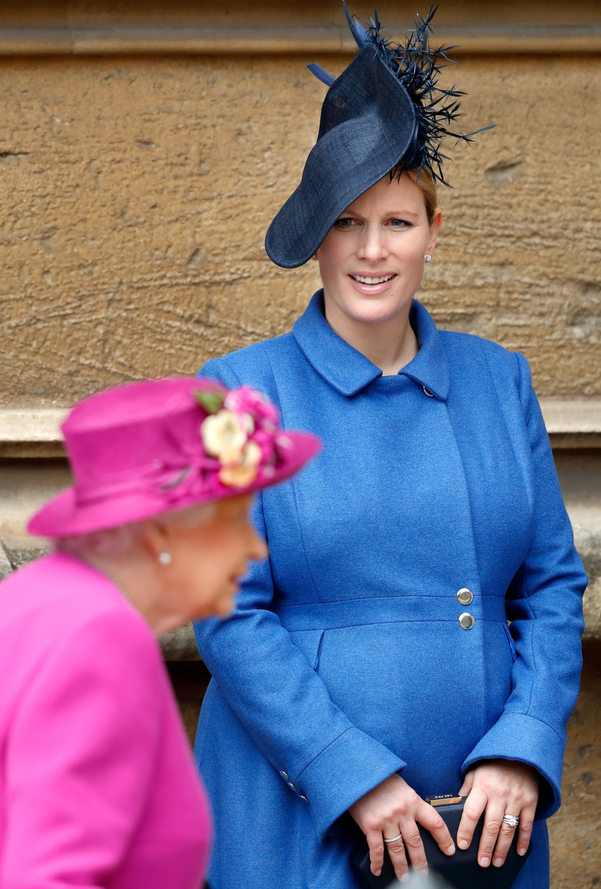 WINDSOR, UNITED KINGDOM - APRIL 01: (EMBARGOED FOR PUBLICATION IN UK NEWSPAPERS UNTIL 24 HOURS AFTER CREATE DATE AND TIME) Queen Elizabeth II and Zara Tindall attend the traditional Easter Sunday church service at St George's Chapel, Windsor Castle on April 1, 2018 in Windsor, England. (Photo by Max Mumby/Indigo/Getty Images)