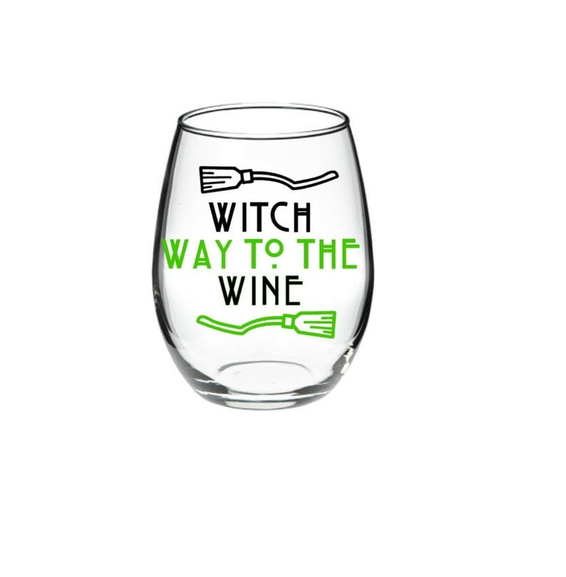 Witch Way to the Wine  Halloween Wine Glass