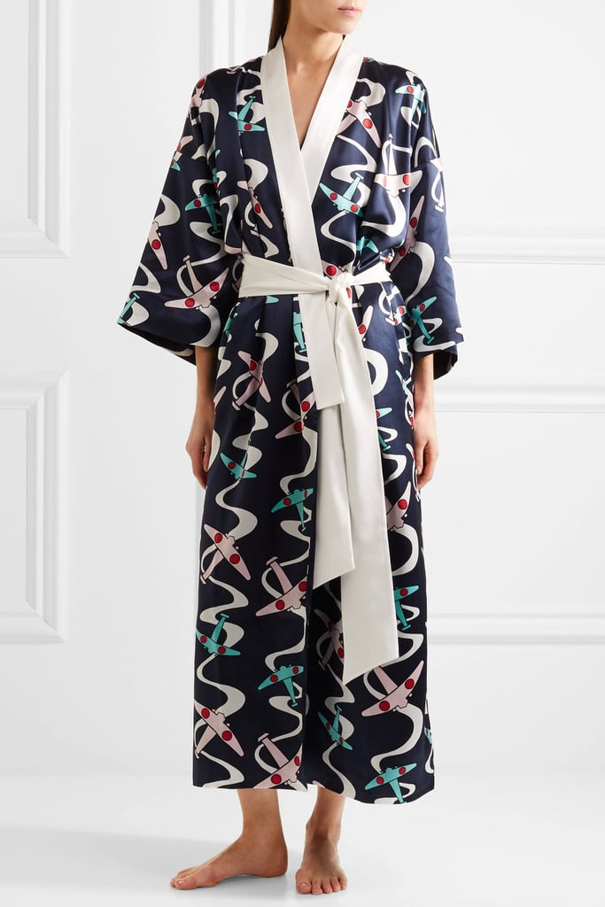 She'll never retire a silk patterned robe like this Olivia von Halle Queenie Amelia Silk-Satin design ($1,035).