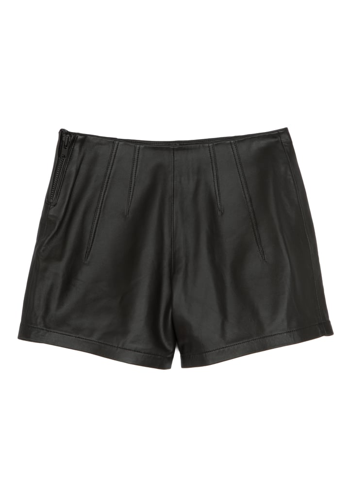 Leather Flat Front Shorts ($295)
