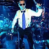 Scott Disick showed off his American Psycho costume at a Las Vegas party in 2012.